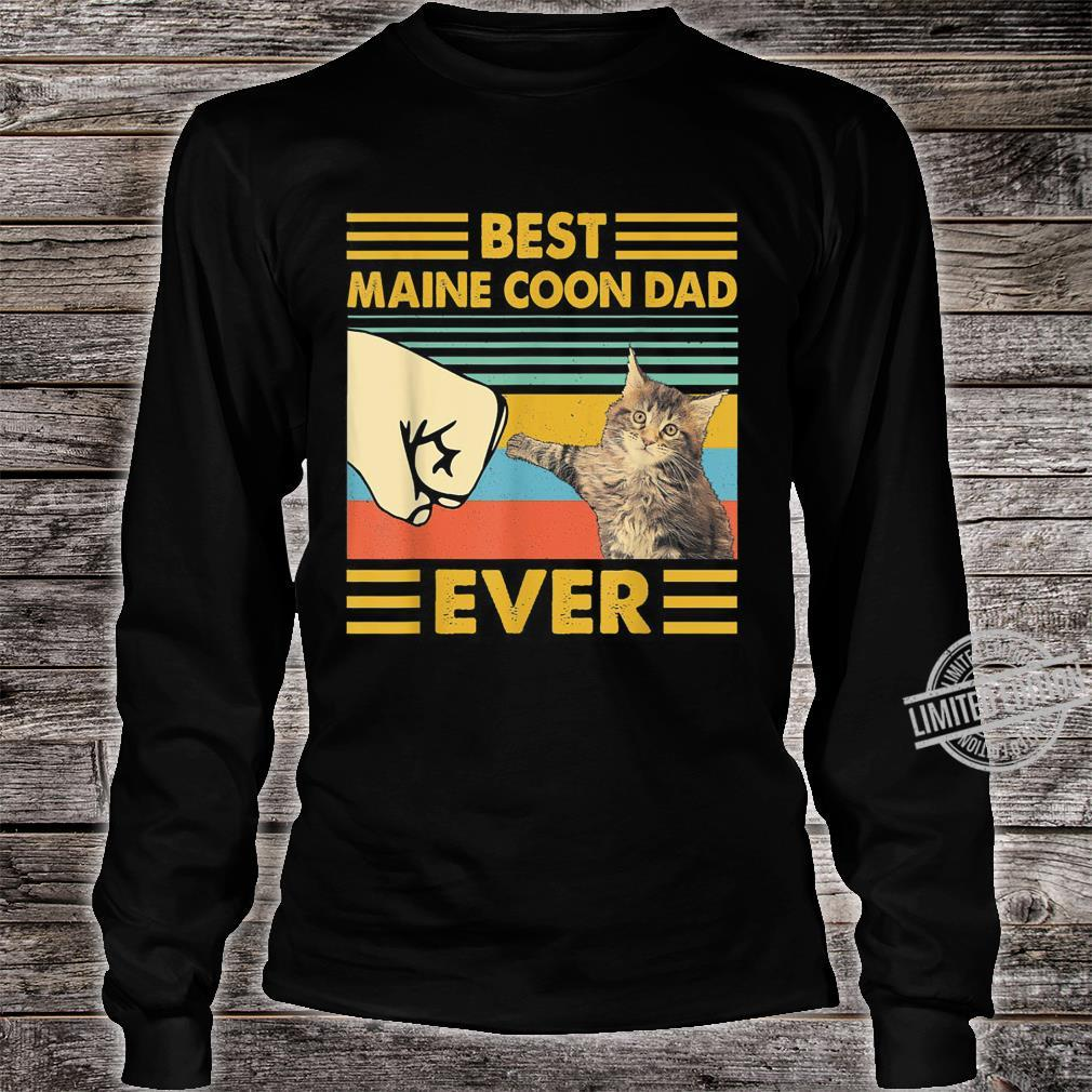 Best Maine Coon Dad Ever Retro Vintage Sunset Shirt long sleeved