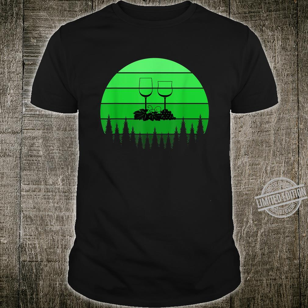 Best Red Wine St Patricks Day Green Retro Sunset Shirt