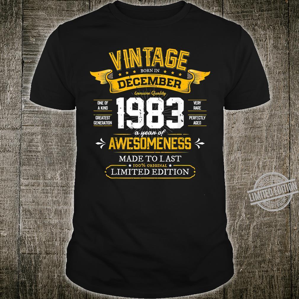 Best of 1983 Vintage 36th December 1983 Retro Birthday Shirt