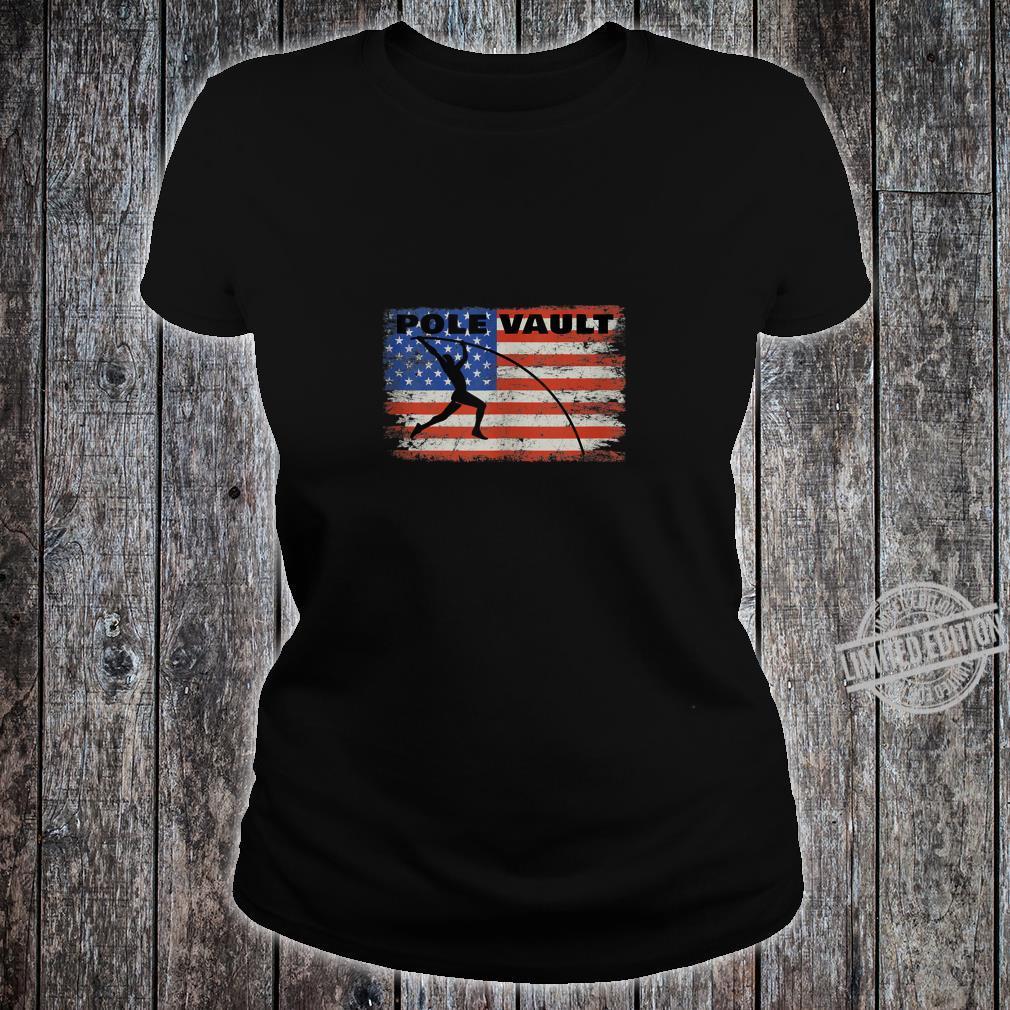 Pole Vault American Flag Patriotic Pole Vaulting Design Shirt ladies tee